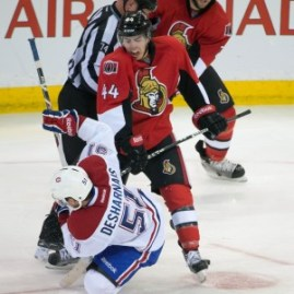 David Desharnais is knocked down by Jean-Gabriel Pageau