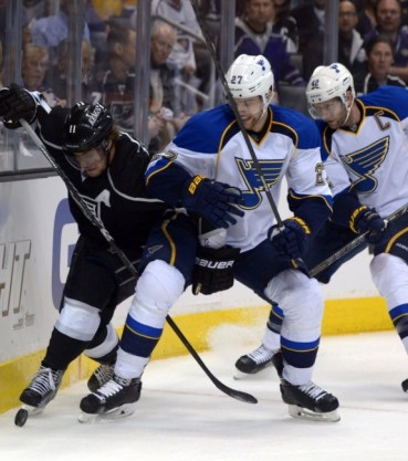 Alex Pietrangelo battles with Anze Kopitar in the 2013 playoffs (Kirby Lee-USA TODAY Sports)