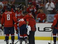 Capitals defenseman Jack Hillen leaves a game due to injury on October 3rd, 2013.