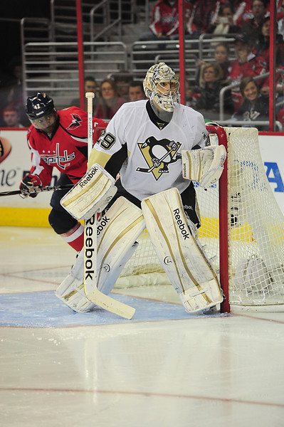 Marc-Andre Fleury made a huge statement shutting out the Washington Capitals and securing the Pittsburgh Penguins Metropolitan Division lead. (Tom Turk/THW)