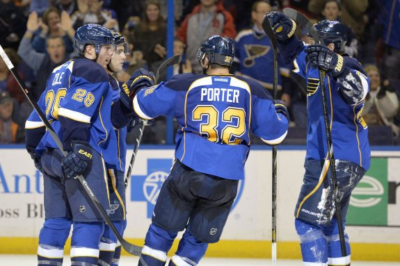 Kevin Shattenkirk is congratulated by teammates after scoring the first goal for the Blues Tuesday night (Jasen Vinlove-USA TODAY Sports)