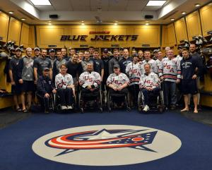 The USA Warriors visited the Columbus Blue Jackets game on Thursday night, participating in an on-ice shootout.