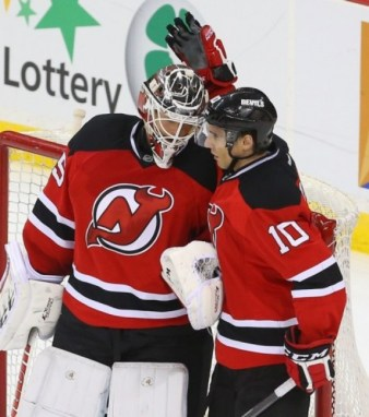 Peter Harrold & Cory Schneider are reunited in New Jersey. (Ed Mulholland-USA TODAY Sports)