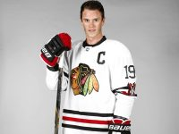 Jonathan Toews models the 2015 Chicago Blackhawks Winter Classic uniform.