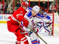 Carolina Hurricanes center Eric Staal (12) and New York Rangers right wing Jesper Fast (19)  (Photo Credit: Andy Martin Jr)