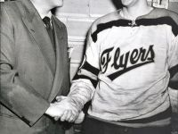 Hap Emms, here with 1952 Barrie Flyers goalie Bill Harrington