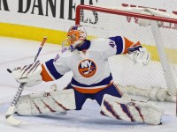 Jaroslav Halak has been a rock in the Isles' crease this season, and the goalie would certainly need to bring his A-game in a playoff match-up with the Rangers. (Amy Irvin / The Hockey Writers)