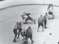 Second-period brawl between Toronto and Montreal in game one of the 1965 playoffs.