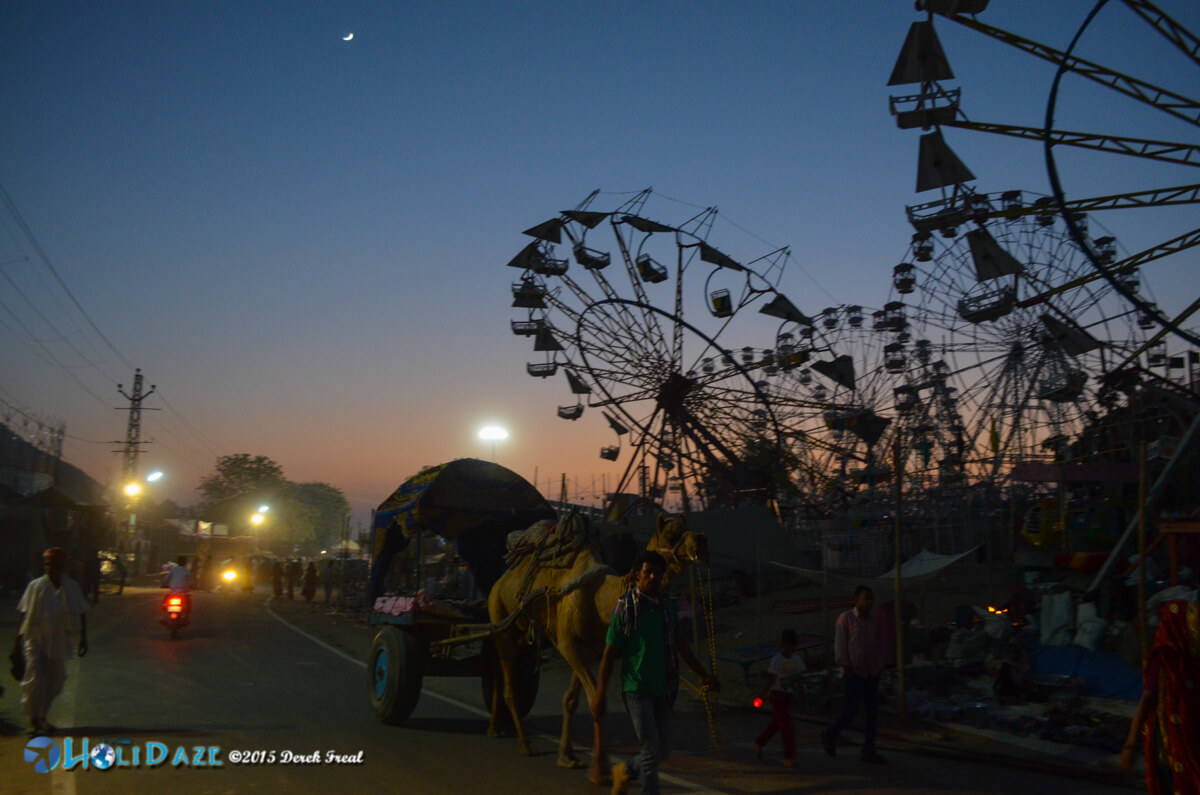 Sunset and the ferris wheels at the Pushkar Camel Fair 2015