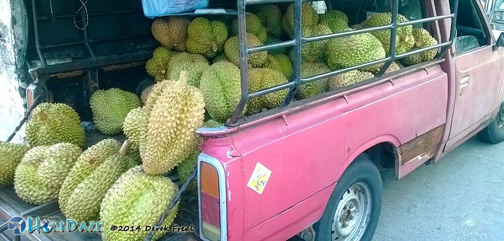 Durian truck in Chiang Mai, Thailand, one of the amazing, weird and exotic fruits of Southeast Asia