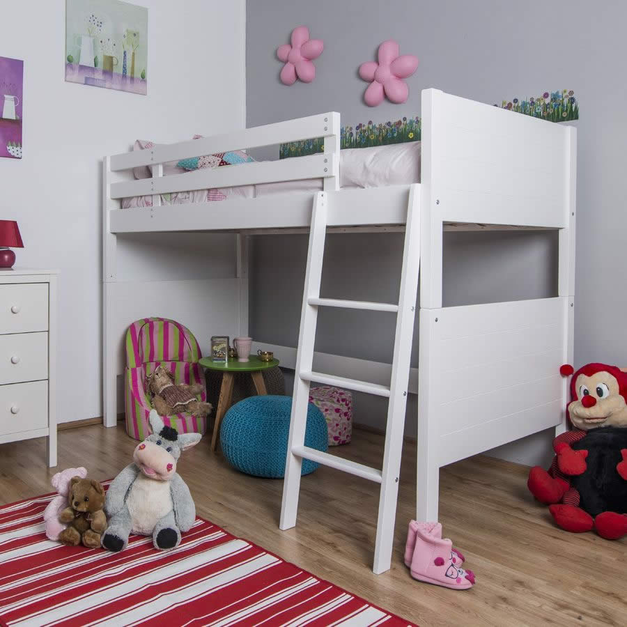Kinder Hoch Bett Jango Children's White High Sleeper Bed - The Children's
