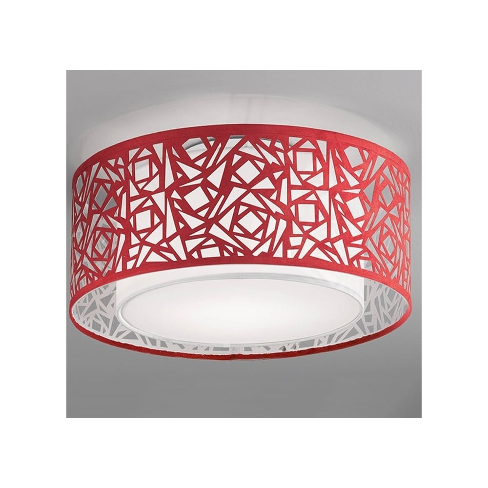 Ceiling Light Shades Cf5734 Abstract Large Flush Ceiling Light With Red Shade