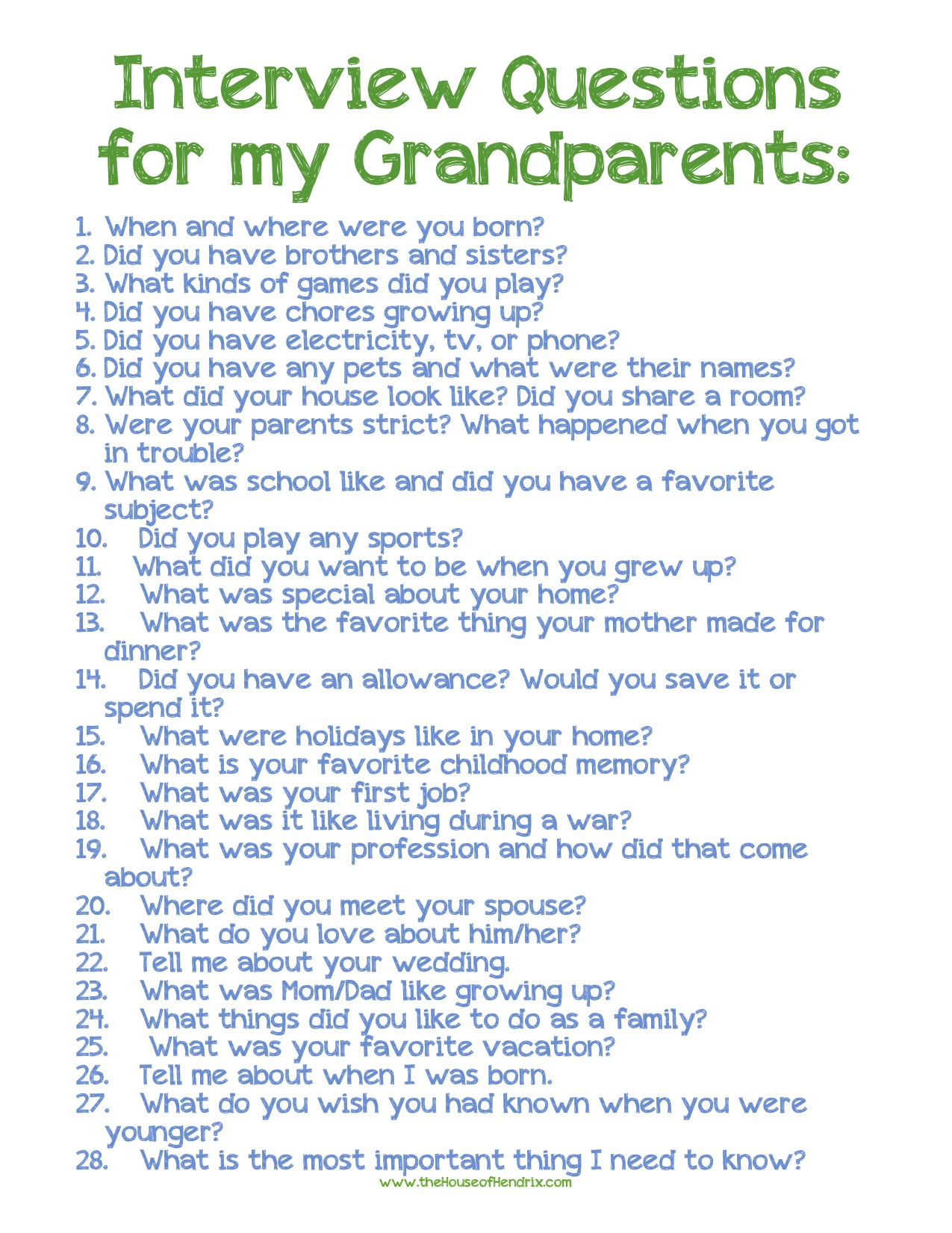 pamela page  i love these interview questions for grandparents found on the house of hendrix