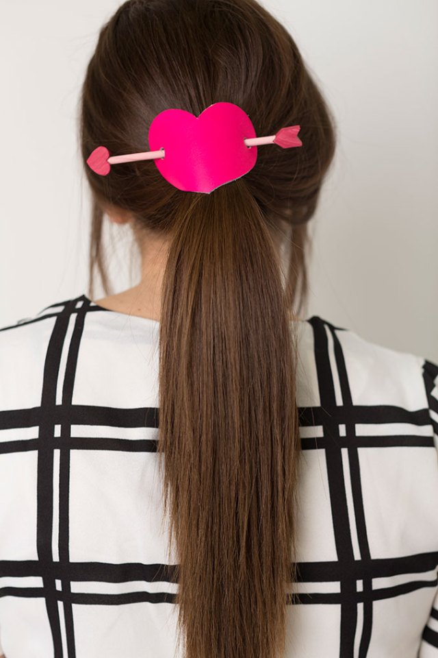 pink heart hair barrette