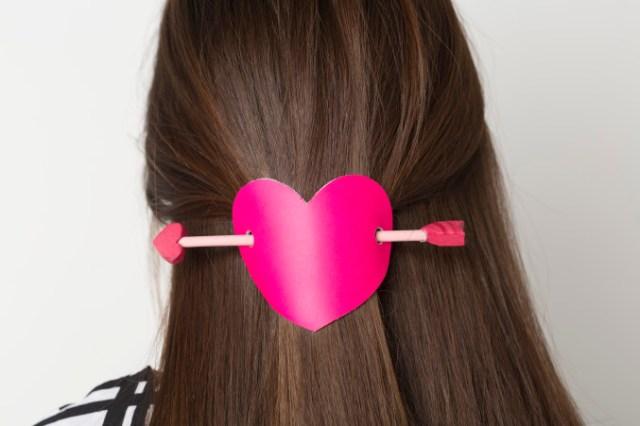 diy valentine's day hair pin
