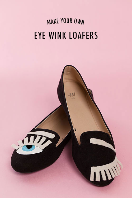 Make your own eye wink slipper shoes
