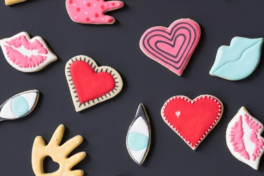 Hearts hands eyes lips cookies