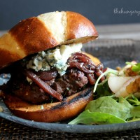 Game Time:  Blueberry Bison Burgers with Pinot Noir Caramelized Red Onions