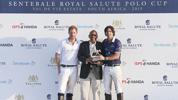 PAARL, SOUTH AFRICA - NOVEMBER 28:  Prince Harry, Prince Seeiso of Lesotho and Sentebale Polo Ambassador Nacho Figueras with the trophy during the Sentebale Royal Salute Polo Cup at Val de Vie Estate on November 28, 2015 in Paarl, South Africa. This is the first time Sentebale Royal Salute Polo Cup has taken place on the African continent. Sentebale is a charity started by Prince Harry and Prince Seeiso of Lesotho 10 years ago to help the vulnerable communities of Lesotho. (Photo by Chris Jackson/Getty Images for Royal Salute)