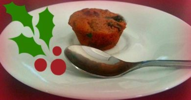Christmas Fruitcake on a saucer ready to eat.