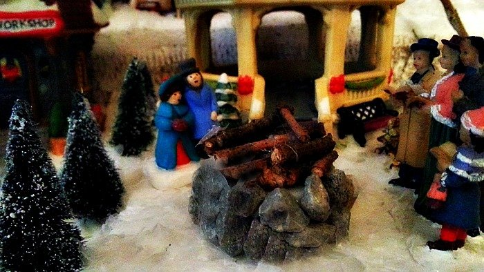 My Bonfire in my miniature Christmas Village set - The Hypertufa Gardener