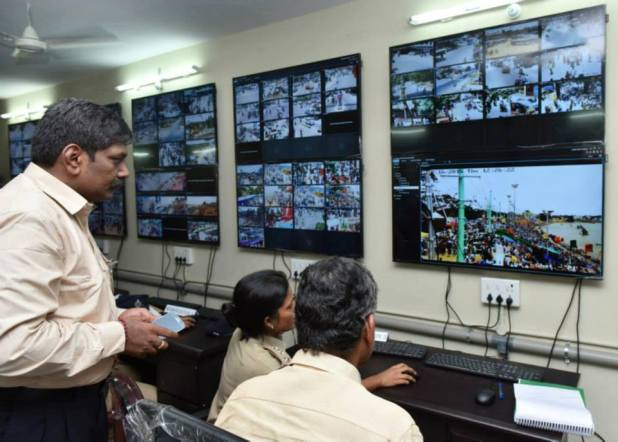 CBN monitoring crowd management at the ghats from the Control Room