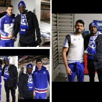 Peter Okoye pictured with Hazard, Costa, Willian, Courtois after Chelsea win (Photos)