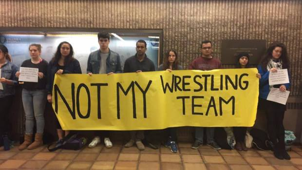 Columbia students reacted to a number of lewd text exchanges between members of the university's wrestling team.