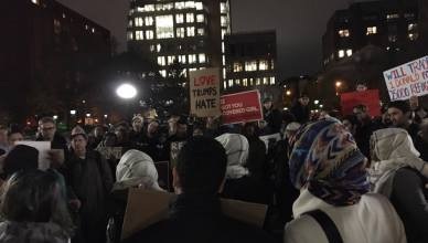 Protestors gathered together at Washington Square Park. (The Ink/Sana Ali)