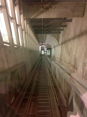 A view of the inclined elevators at the 34th Street-Hudson Yards subway station. The elevators are the first of their kind in New York City, and can hold up to five wheelchairs at a time.