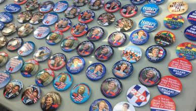 Hillary Clinton campaign buttons for sale at the Upper West Side campaign office. Photo credit: Pat Ralph