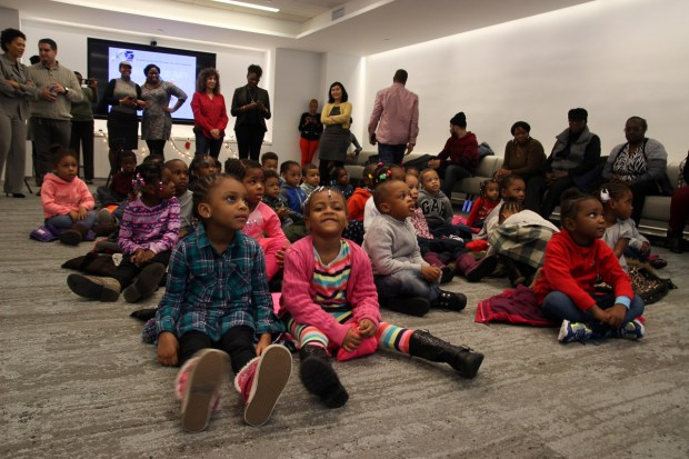 children from Utopia Children's Center waiting for Santa's arrival.