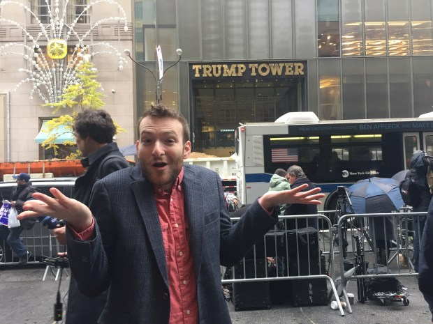 Jon Bershad in front of Trump Tower the day after the election.