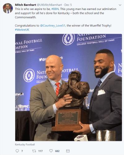 Mitch Barnhart Wuerffel Trophy Tweet