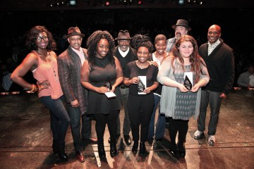 Winners with co host Amber Iman and Judges Ruben Santiago Hudson James Earl Jelks Roslyn Ruff David Gallo and host Kenny Leon. Photo by Gustavo Monroy