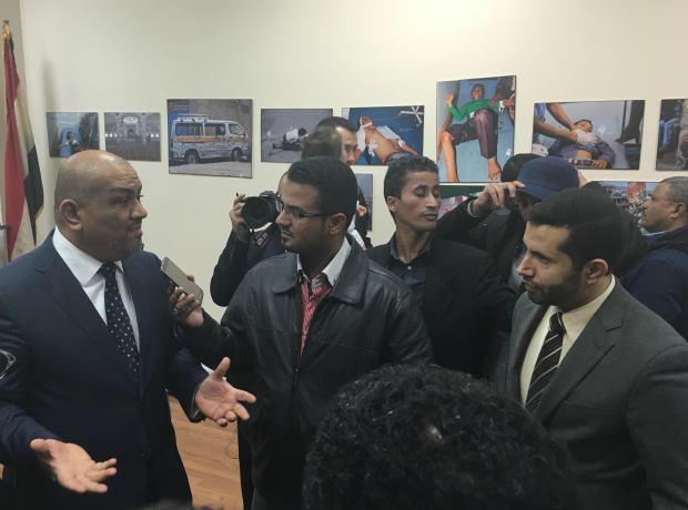 Khaled Al Yamani Speaking to Journalists