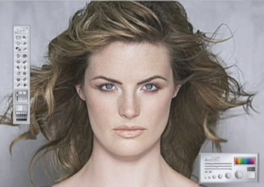 Retouching screen shot from Dove Evolution ad
