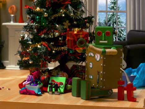Robot shakes a present in Ebay It TV commercial