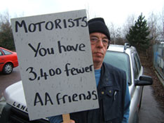 Protester campaigns on AA job cuts
