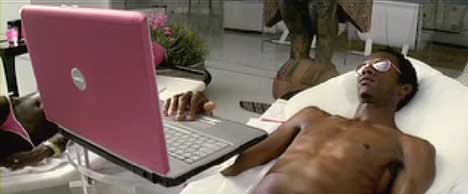 Sunbather uses pink Dell Inspiron