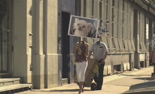 Woman carries dog photo in Sony Cybershot ad