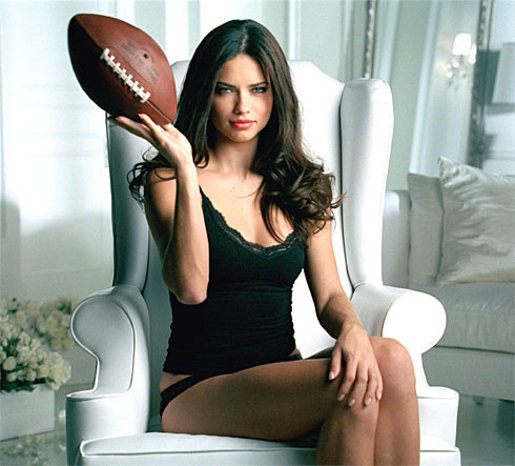Victoria's Secret Adriana Lima with football in Superbowl 2008 ad