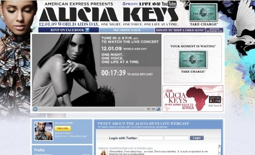 Alicia Keys YouTube channel for World AIDS Day