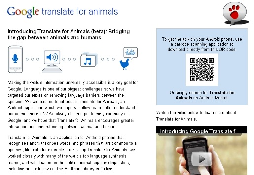 Google Translate for Animals site