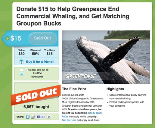 Groupon Greenpeace Fundraising