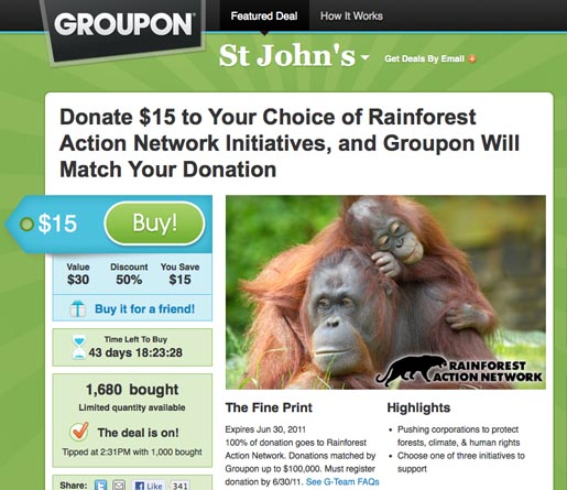 Groupon Rainforest Action Network Fundraising