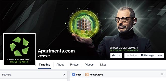 Jeff Goldblum in Apartments.com Facebook page