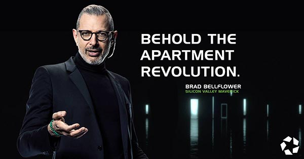 Jeff Goldblum in Apartments.com poster - Behold The Apartment Revolution