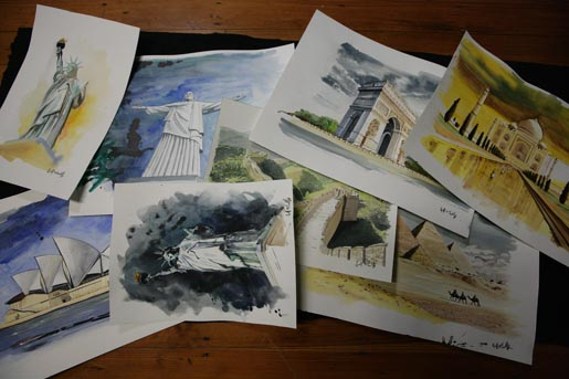 Beyonce Water Colours in 4 Around the World video