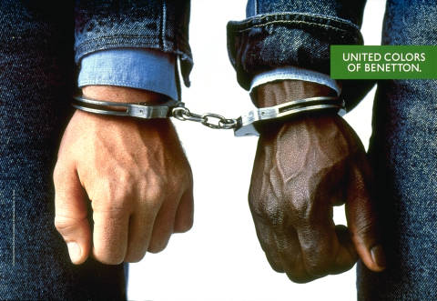 Hands in handcuffs for Benetton poster